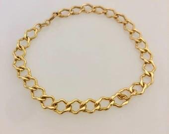 """14K Yellow Gold Fancy Link Bracelet 7"""""""