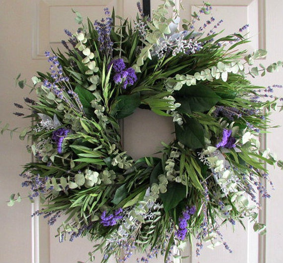 Purple wreath, eucalyptus wreath, spiral eucalyptus wreath, purple wreath, leaf wreath, seeded eucalyptus, lavender wreath, fragrant wreath