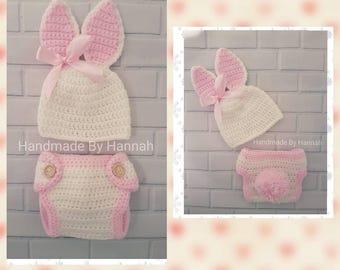 Handmade crochet baby bunny hat & diaper cover photo prop set
