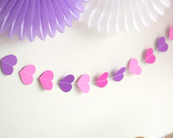 Paper heart garland, Pink, Lavender, Purple, Double Sided, 13 feet
