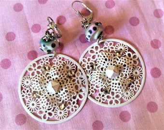 Pair of earrings with Lampwork Glass Beads.