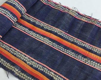 Natural Hmong hemp fabric,old hemp ,vintage  hemp hand dyed Hmong hill tribe -Bed runner ,Table runner from Thailand