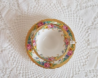 Vintage Tuscan Tea Cup and Saucer, Garland Pattern, English China, Gold Gilt Edges