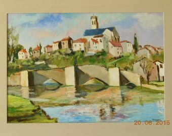 The village of BELLAC in Limousin acrylic on Panel
