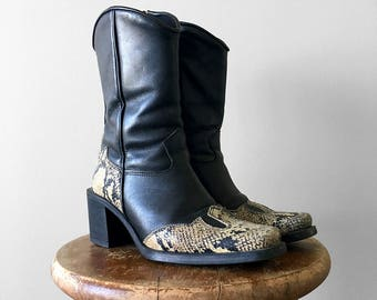 "30% OFF w/COUPON CODE ""FLIRTY30"" - Vintage, 1990's, Roots Canada, Black, Leather, Western, Faux Snake Skin, Heeled, Zip-Up Boot"