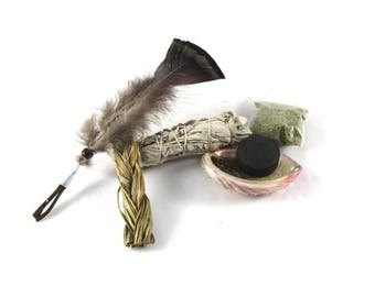 Sage Smudge Kit, Sweet grass, Abalone Shell, Sage, Feather, Spiritual Cleansing