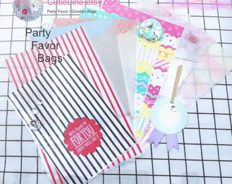 """Kawaii Gift Goodies Bags with 4.5"""" Gold Twist Ties - 8 Designs -Candy Gift Bags/Goodies Bags/Wedding Party Favor Bags/Treat Bag"""