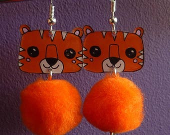 Sterling silver earrings 925 Tiger kawaii orange crazy shrink plastic and tassel