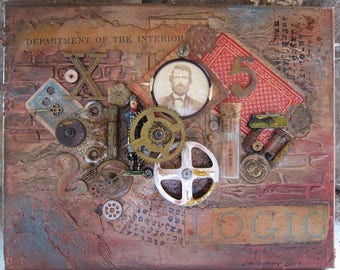 Steampunk Art Steampunk Assemblage Mixed Media Small Painting Original One Of A Kind Antique Photo Gears Time In A Bottle B175