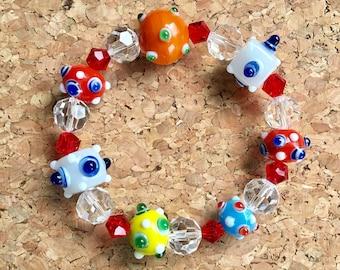 Elastic multicolored eclectic glass bauble bead bracelet