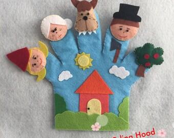 Little Red Riding Hood Hand Puppet/Felt finger puppets/Kids Felt Toys/handmade/Circle Time/Felt story/Felt board rhyme/Teacher Resource
