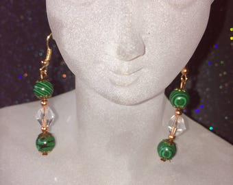 Green Malachite and Crystal Dangle Earrings