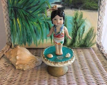 Antique Bisque Doll Upcycled to Hawaiian Wahine, From Kauai, Hawaii