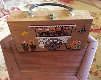 Vintage Gary Gail Wood Purse, H. P. Flower Cart with Beads, Signed, Mirror, Excellent!