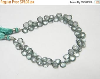 8 inch strand-- 7 - 8 mm approx-- Fine Quality Mystic Green Quartz Faceted Heart Briolettes