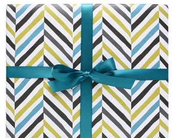60% OFF Aqua and Grey Chevron Wrapping Paper by Smudge Ink