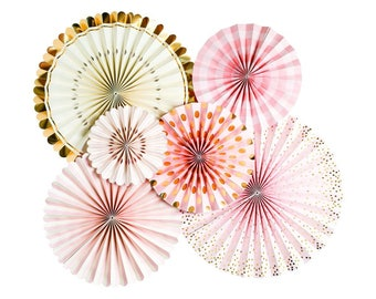 Pink and Gold Party Fan Set / Pink Fans / Party Fans / Paper Fans / Princess Decor / Valentine's Decor / Bride To Be Party Fans