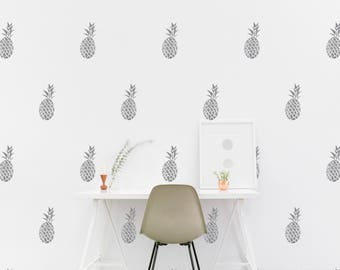 Silver Pineapple wall Decal Nursery Kids room Wall Sticker Bedroom, Living room Pattern Wallpaper Vinyl Wall Decals Wall Stickers Home Decor