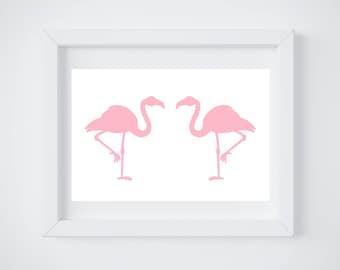 DIGITAL DOWNLOAD, Pink Flamingo art, Flamingo