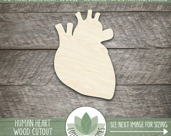 Human Heart Laser Cut Wood Shape, DIY Crafting Supply, Wood Heart Cut Out, Many Size Options