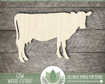 Wood Cow Cutout, Laser Cut Cow Shape, Unfinished For DIY Projects, Many Size Options Available, Wood Sign Making Supplies, Wooden Cow