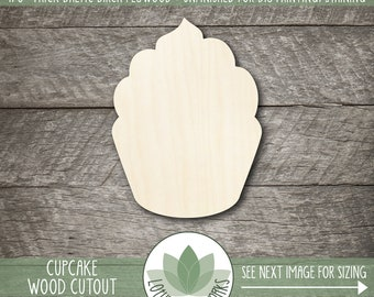 Cupcake Wood Cutout, Wooden Cupcake Shape, Cupcake Party Decoration, Unfinished Wood For DIY Projects, Laser Cut Shapes, Blank Wood Shapes