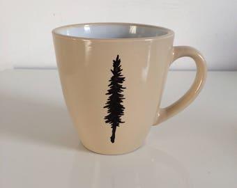 Tan Cottage Mug - Hand Drawn