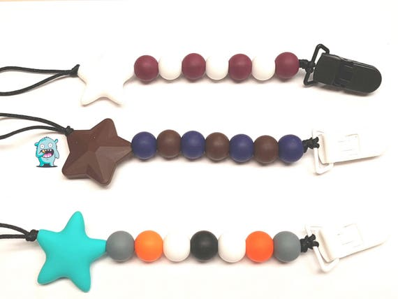 Chewable silicone pacifier clip, Soother Clip, pacifier clip, star clip, baby shower gift, dummy clip, soother holder
