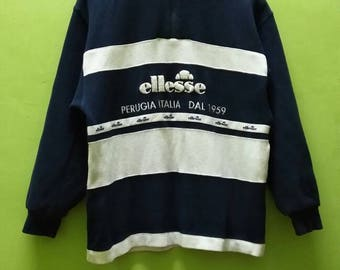 Vintage Ellese half zipper sweatshirt / vintage ellese crewneck / ellese jumper Big Logo Spell Out embroidery