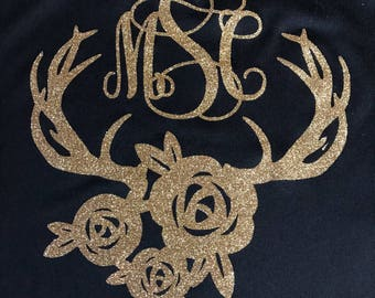 Monogram with antlers and flowers