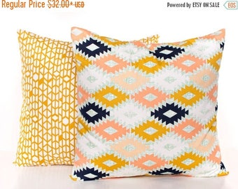 SALE ENDS SOON Gold Set of Pillow Covers, Peach, Cream and Gold Pillows, Navy Decorative Pillows, Baby Pillows, Nursery Decor