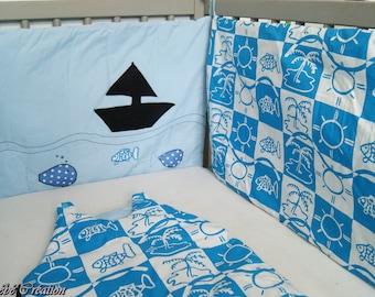 "* AVAILABLE * bumper + sleeping bag themed ""sea"""