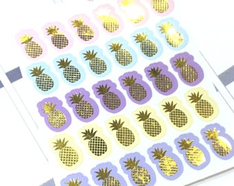 Foil pineapple icon stickers Foiled planner stickers