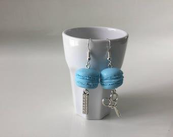 Blue macaroon earrings and charm earrings
