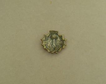 Bonnie Scotland Pin Dish - Brass - Thistle Design - Vintage Brass