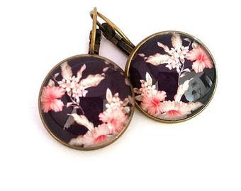 Dangle earrings, Japanese, liberty, Japanese paper, glass cabochon, bronze charm, gift for her