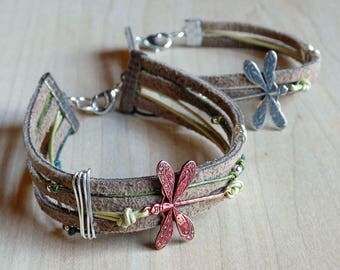 Dragonfly Bracelet, Dragonfly Suede Cord Bracelet, Suede and Leather Cord Bracelet With Dragonfly Charm