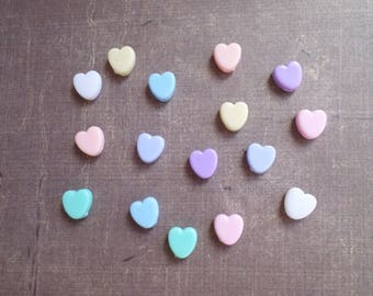 100 mix color Pastel heart shaped beads