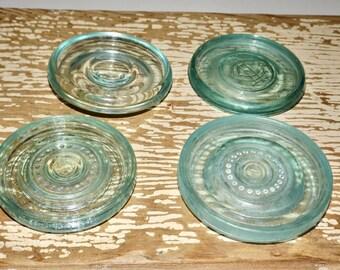 Blue glass canning jar lid inserts,mason jar lids,Lightning,Masons Improved,set of 4,lids only,aqua glass lids,canning supplies,