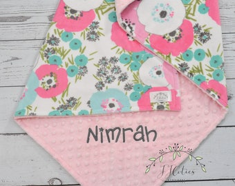 Personalized baby blanket- Flora MInky Baby Blanket Personalized-Pastel Watercolor Baby Blanket Girl-Flora Nursery-Watercolor Flora Blanket