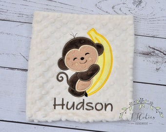 Personalized Minky baby Blanket Monkey Banana-Personalized Monkey Baby Blanket Boy Girl-Monkey Safari Nursery-Monkey Baby Blanket Bedding