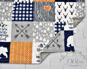 Personalized Minky Baby Blanket-Personalized Woodland Bear Baby Blanket-Deer Buck Arrow Minky Baby Blanket Girl Boy-Woodland Nursery Blanket