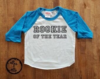 "Baseball Shirt, First Birthday Shirt, Baseball Theme, ""Rookie of the Year"" Shirt - Atlas & Ellie - Boy's Birthday- Baseball Birthday Party"