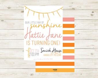 SUNSHINE | Little Ray of Sunshine Invitation | Miss Sunshine | Sunshine Theme Birthday | Sunshine Party | Sunshine Birthday Party | Girl