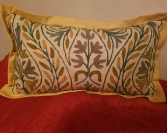 Vintage Crewel Embroidery Pillow