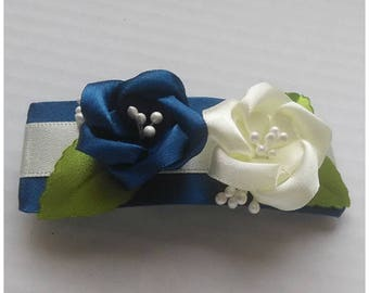 Satin french barrette blue and ivory/Kanzashi flower hair clip/Original Hair Accessory