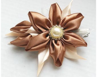 Satin Flower Hairclip/Hairclip with Brown Kanzashi Flower/Satin Hair accessory/Up to 160 Custom Colors