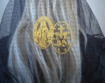 Embroidered Miraculous Medal Gold on Black Chapel Veil | Mantilla | Free Carry Pouch |  Embroidered Veil | Lace Veil | The Veiled Woman