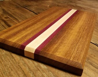 "Exotic Wood Cutting Board--teak, maple, purple heart--15"" long x 8.5"" wide x 1"" thick"