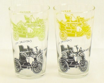 2 Vintage Antique Car Glasses, Maxwell 1908, Cadillac 1903, Ford 1908, Packard 1899, Collectible Automobile Drinking Glasses, Old Timey Cars